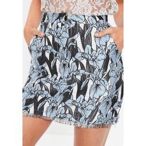 Missguided Jacquard Floral Frayed Hem Mini Skirt